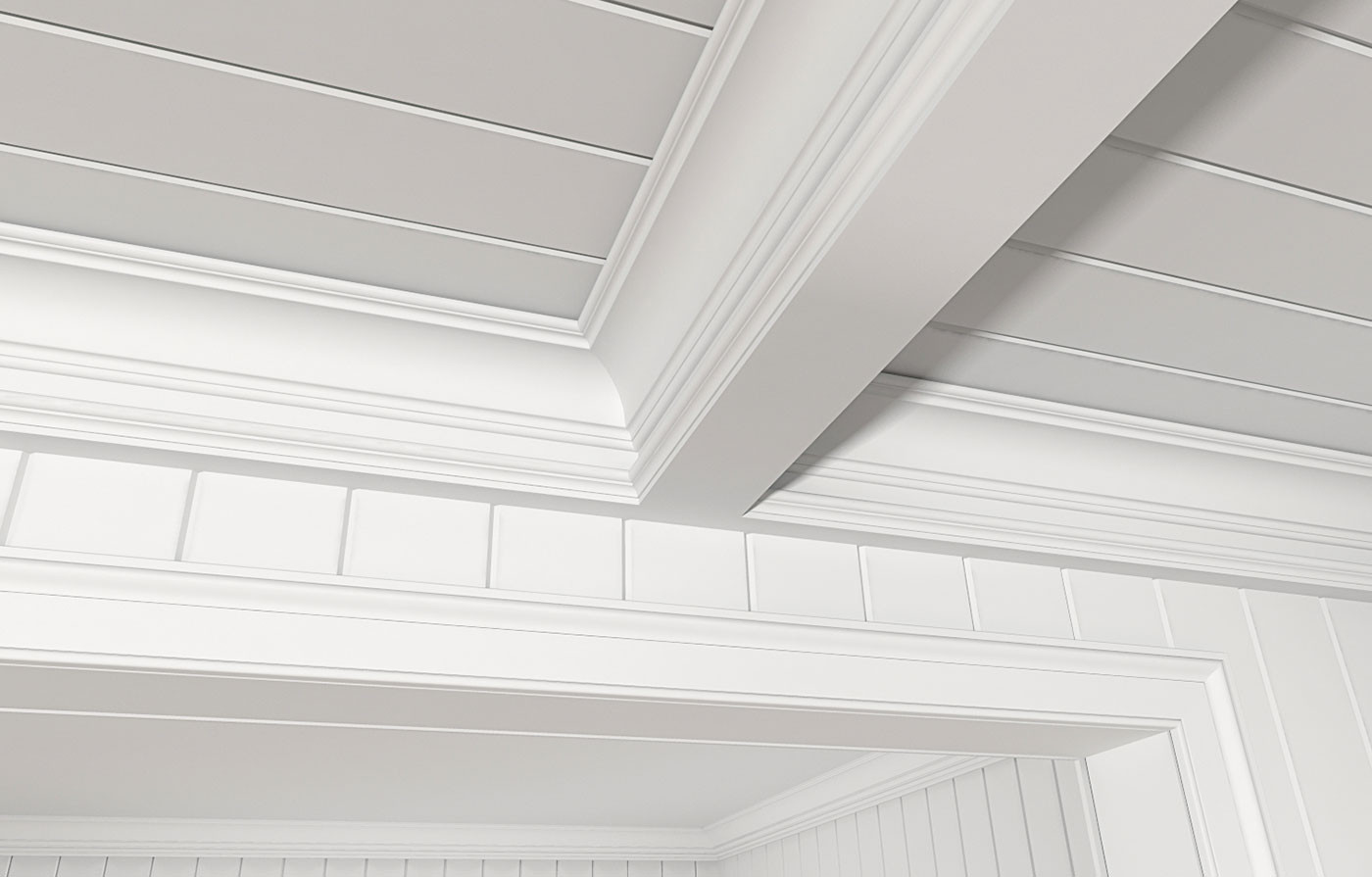 4 Inches On Center V-Groove, GSC512, 8577 (Coffered Ceiling), LK4 Casing